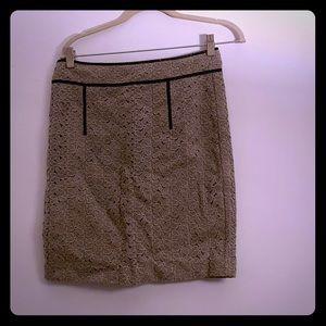 Banana Republic, tan, flower embroidered skirt